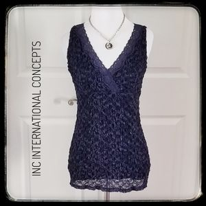 INTERNATIONAL CONCEPTS Navy Lace Top